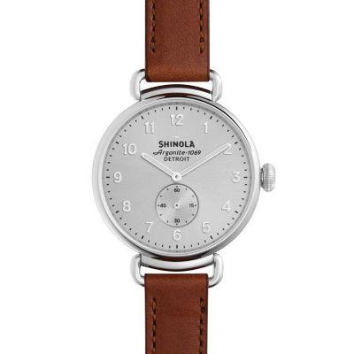 Shinola Canfield 38mm Dark Cognac Strap Watch