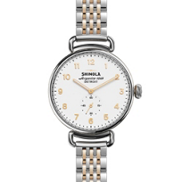 shinola_canfield_women's_watch_38mm,_stainless_steel_and_rose_tone_bracelet_with_white_dial