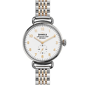shinola canfield women's watch 38mm, stainless steel and rose tone bracelet with white dial