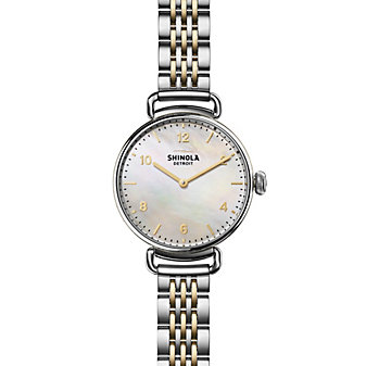 shinola canfield women's watch 32mm, stainless steel bracelet with mother-of-pearl dial