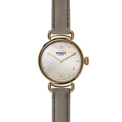 shinola canfield women's watch 32mm, gray strap with mother-of-pearl dial