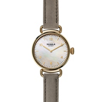 shinola_canfield_women's_watch_32mm,_gray_strap_with_mother-of-pearl_dial