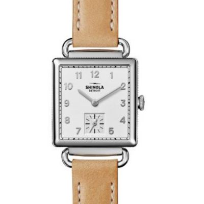 shinola stainless steel cass watch with natural leather strap