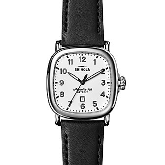 Shinola Guardian 41.5mm Men's Watch, White Dial with Black Strap