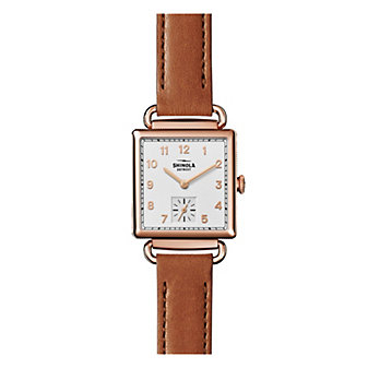 shinola cass women's 28mm watch, brown leather strap and rose gold plating