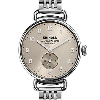 shinola canfield women's watch 38mm, stainless steel bracelet with nude dial