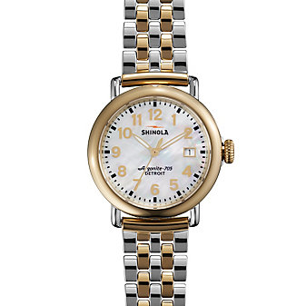 shinola runwell women's watch 36mm, stainless steel bracelet with mother-of-pearl dial