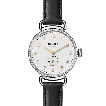 shinola canfield women's watch 38mm, black strap with diamond bezel and white dial