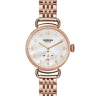 shinola canfield women's watch 38mm, rose tone bracelet with diamond bezel and mother-of-pearl dial