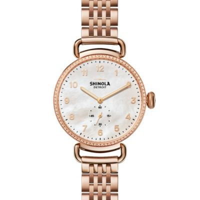 Shinola Canfield with Diamonds 38mm Women's Watch, Mother of Pearl Dial