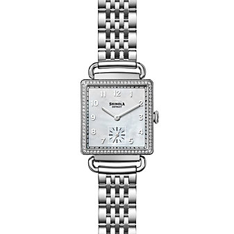 shinola cass women's watch 28mm, stainless steel strap with diamond bezel and mother-of-pearl dial