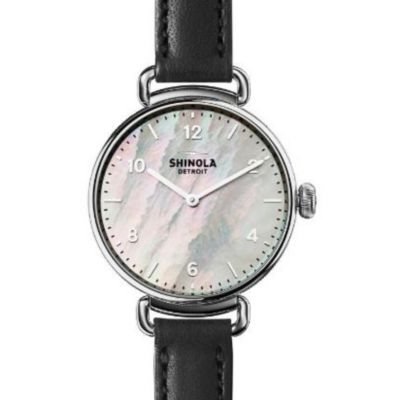 shinola stainless steel canfield 32mm watch with mother of pearl dial