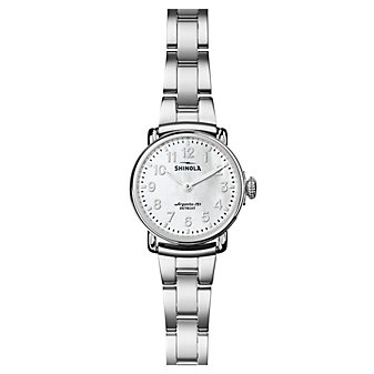 shinola runwell women's watch 28mm, stainless steel bracelet with mother-of-pearl dial