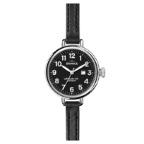 shinola_birdy_women's_watch_34mm,_black_strap_with_black_dial