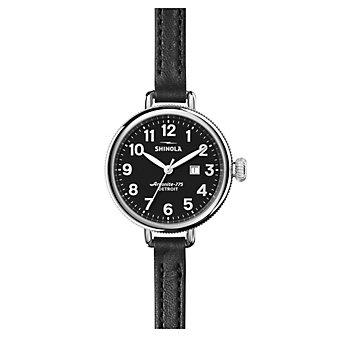 shinola birdy women's watch 34mm, black strap with black dial