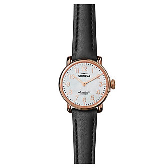 shinola runwell women's watch 28mm, black strap with rose tone bezel and mother-of-pearl dial