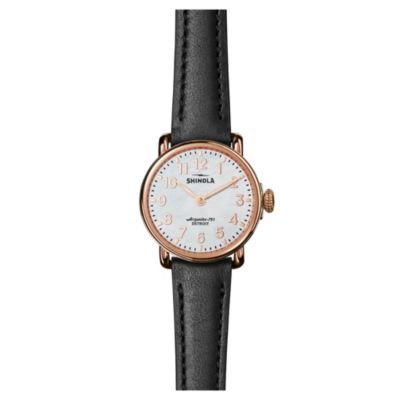 Shinola Runwell 28MM Black Leather Strap Watch