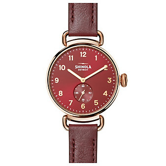 shinola canfield women's watch 38mm, burgundy strap with rose tone bezel and red dial