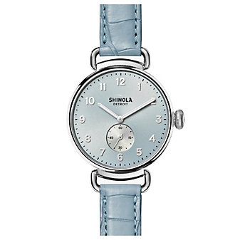 shinola canfield women's watch 38mm, blue strap with silver bezel and blue dial