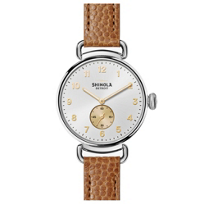 shinola_canfield_women's_watch_38mm,_tan_strap_with_silver_bezel_and_dial