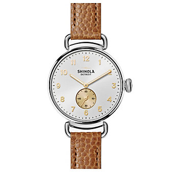 shinola canfield women's watch 38mm, tan strap with silver bezel and dial