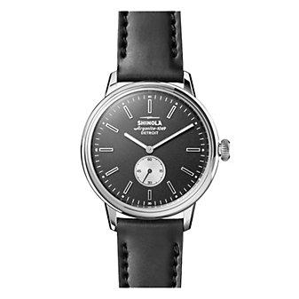 shinola bedrock men's 42mm watch, black dial with black leather strap