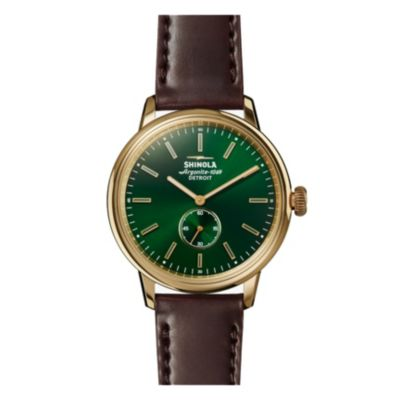 shinola bedrock men's 42mm watch, green bezel with brown leather strap