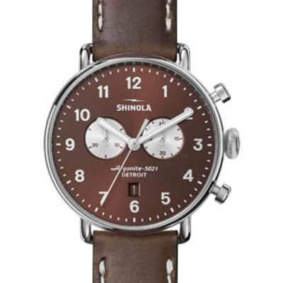 shinola stainless steel canfield 43mm brown dial chrono watch
