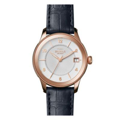 shinola gail women's 36mm watch, rose gold plating & navy leather strap