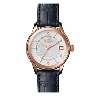shinola gail women's 36mm watch, rose gold plating & navy leather strap