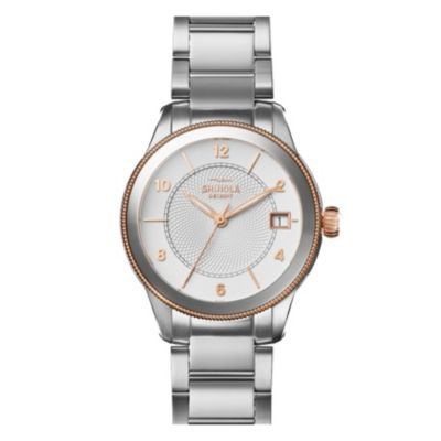 shinola gail women's 36mm watch, two tone stainless steel & rose gold plate
