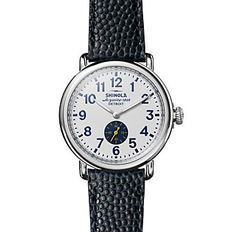 shinola runwell 41mm men's watch with white dial & navy leather strap