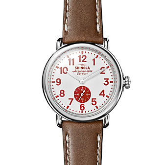 shinola runwell 41mm men's watch with white dial & brown leather strap