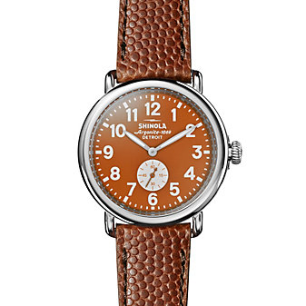 shinola runwell 41mm men's watch with orange dial & brown leather strap