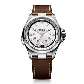 Swiss Army Night Vision Strap Watch, Silver Dial