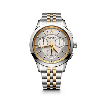 swiss army alliance chronograph 43mm two-tone watch