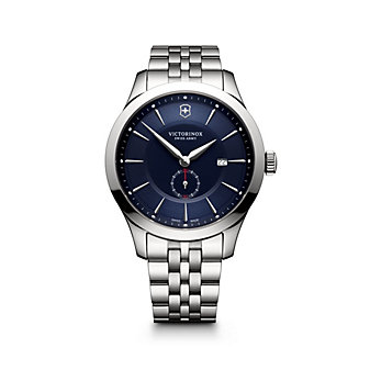 swiss army alliance 44mm watch, stainless steel & blue dial