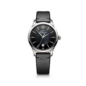 swiss army alliance small stainless steel and mother of pearl 35mm watch with black strap
