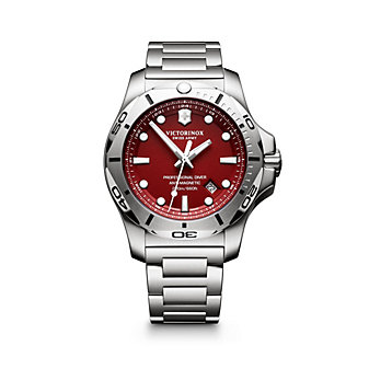 swiss army i.n.o.x. professional diver 45mm stainless steel watch with red dial