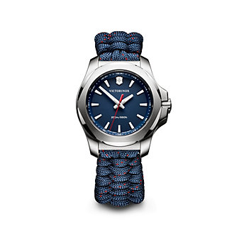 swiss army i.n.o.x. v stainless steel 37mm women's watch with blue dial and strap