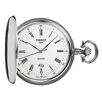 Savonette White Quartz Pocket Watch & Chain