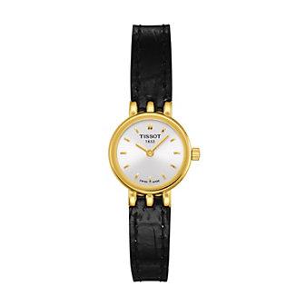 Tissot Women's Lovely Black Leather Strap Watch