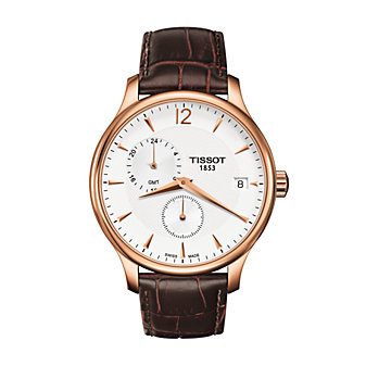 Tissot Tradition GMT Men's Quartz Rose Gold PVD Case Silver Dial Watch