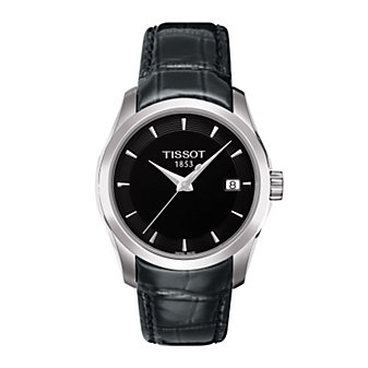 Tissot Women's Couturier Black Dial & Black Leather Strap Watch