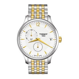 Tissot Tradition GMT Men's Quartz Chrono Two-Tone Silver Dial Watch