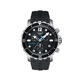 Tissot Seastar Men's Quartz Black Watch with Rubber Strap