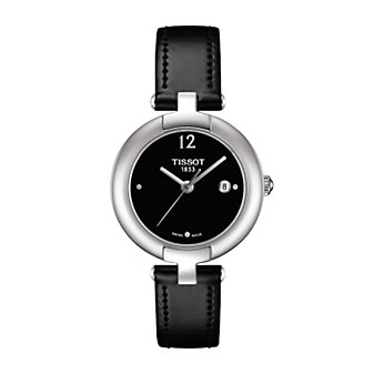 Tissot Women's Pinky Black Dial Leather Strap Watch