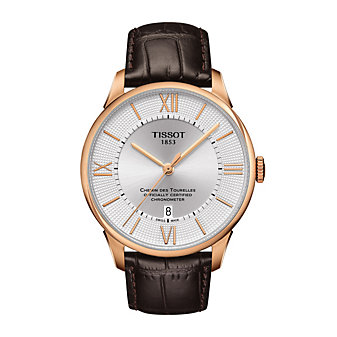 tissot chemin des tourelles powermatic 80 cosc watch, rose gold