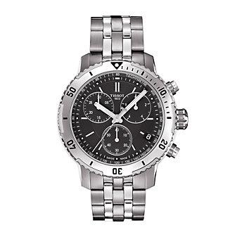 tissot prs 200 quartz chronograph men's watch, stainless steel