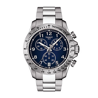 tissot v8 quartz chronograph 42.5mm men's watch, stainless steel